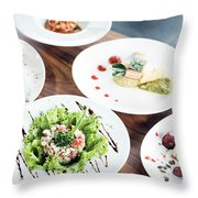 Mixed Modern Gourmet Fusion Food Dishes On Table Throw Pillow
