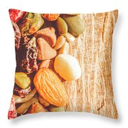 Mixed Nuts On Wooden Background Throw Pillow