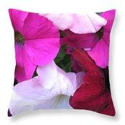 Mixed Petunias Throw Pillow