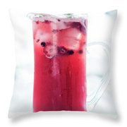 Mixed Red Berries And Wine Sangria Cocktail Jug Throw Pillow