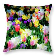 Mixed Tulips In Bloom  Throw Pillow