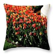 Mixed Tulips Throw Pillow