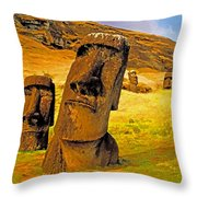 Moai Throw Pillow