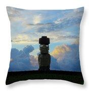 Moai Easter Island Rapa Nui Throw Pillow