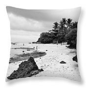 Moalboal Cebu White Sand Beach In Black And White Throw Pillow
