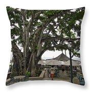 Moana Surfrider Banyan Court - Waikiki Beach Throw Pillow