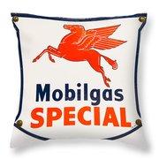 Mobil Gas Vintage Sign Throw Pillow