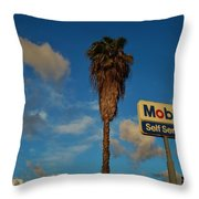 Mobil Self Serve Throw Pillow