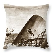 Moby Dick Both Jaws, Like Enormous Shears Bit The Craft Complete In Half Throw Pillow