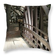 Mocha Colored Walking Bridge In American Fork Canyon Utah Throw Pillow