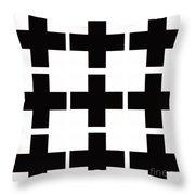 Mod Black And White Swiss Cross Mid Century Modern Design Throw Pillow