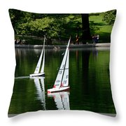 Model Boats Central Park New York Throw Pillow