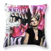 Model Day Of The Dead  Throw Pillow