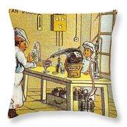 Model Kitchen, 1900s French Postcard Throw Pillow