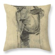 Model Study Of Standing Half-naked Man, For Seeing Down, George Hendrik Breitner, 1867 - 1923 Throw Pillow