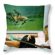 Modeling, Frederick Remingtons, Stampede By Lightning, Advanced Guard Throw Pillow