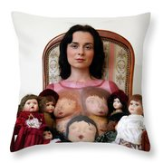Model With Porcelain Dolls Throw Pillow