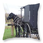 Modern Amish Horse And Buggy Throw Pillow