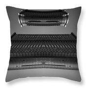 Modern Building Abstract Flying Spaceship Throw Pillow