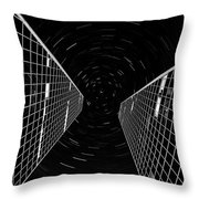 Modern Building With Star Tracks Night Photography Throw Pillow