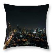 Modern Buildings In Silom Area Of Bangkok Thailand At Night Throw Pillow