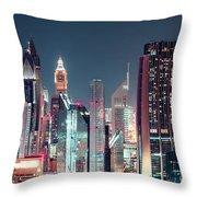 Modern City Architecture By Night. Dubai. Throw Pillow