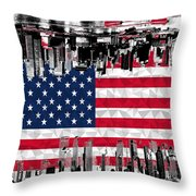 Modern City Scape American Flag Throw Pillow
