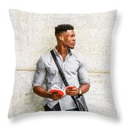 Modern College Student In New York Throw Pillow