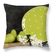 Modern Green And White Polka Dot Kitchen Throw Pillow