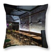 Modern Industrial Contemporary Interior Design Restaurant Throw Pillow