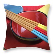 Modern Japanese Oriental Place Setting Throw Pillow