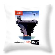 Modern Mobile Mighty Navy Throw Pillow