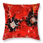 Modern Red Poppies - Sharon Cummings Throw Pillow