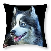 Modern Siberian Husky Dog Art - 6024 - Bb Throw Pillow