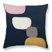 Modern Stones Navy 1- Art By Linda Woods Throw Pillow by Linda Woods