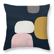 Modern Stones Navy 2- Art By Linda Woods Throw Pillow by Linda Woods