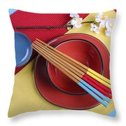Modern Take On Traditional Japanese Oriental Place Setting Throw Pillow