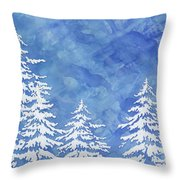 Modern Watercolor Winter Abstract - Snowy Trees Throw Pillow