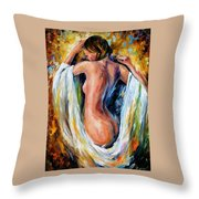 Modest Girl Throw Pillow by Leonid Afremov