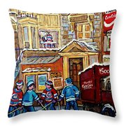 Moe's Corner Snack Bar And Diner Montreal Landmark  Restaurant Canadian Art Carole Spandau Throw Pillow