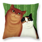 Moggies Throw Pillow by Magdolna Ban