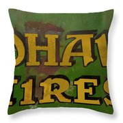 Mohawk Tires Antique Sign Throw Pillow