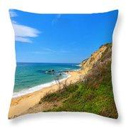 Mohegan Bluffs Block Island Throw Pillow