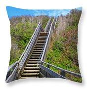Mohegan Bluffs Rhode Island Throw Pillow