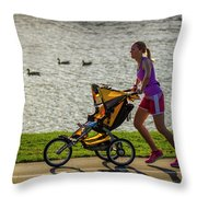 Moher And Child Jogging Throw Pillow