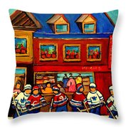Moishes Steakhouse Hockey Practice Throw Pillow
