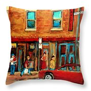 Moishes Steakhouse On The Main By Montreal Streetscene Painter Carole  Spandau  Throw Pillow