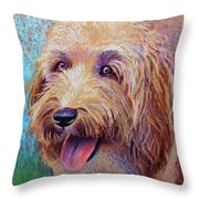 Mojo The Shaggy Dog Throw Pillow