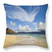 Mokulua Island Beach Throw Pillow
