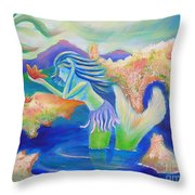 Molly Mermaid Throw Pillow